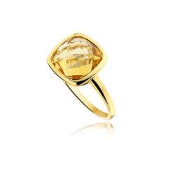 Geelgouden ring citrien groot