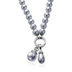 Zinzi grijs parelcollier zilver sluitring Zic400g48