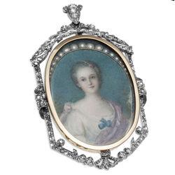 Gouden broche hanger damesportret