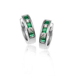 Witgouden creolen briljant en smaragd