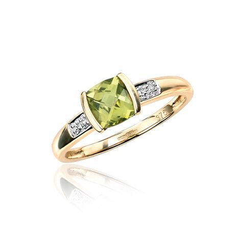 Gouden ring met peridot en diamant