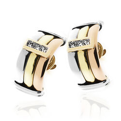 Gouden oorbellen prinses geslepen diamant