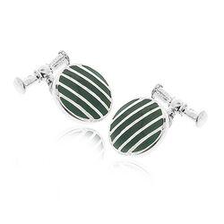 Juweliersrestant Zilveren Manchetknopen Groen Emaille