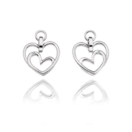 Zilveren oorstekers dubbel hart diamant DE344 Hot diamonds