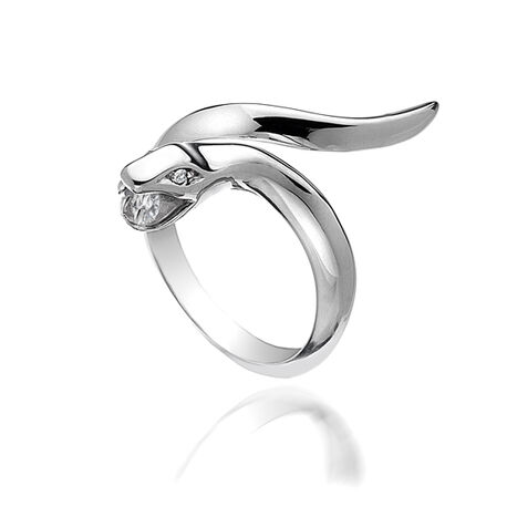 Zilveren ring slang met diamant Hot Diamonds dr116