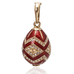 Fabergé ei hanger rood emaille zirkoon 0148r