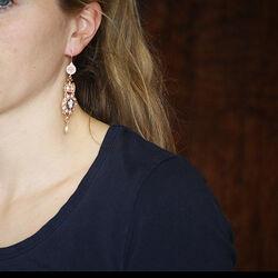 Roséverguld zilver oorhangers camee amethist saffier en parels Diluca