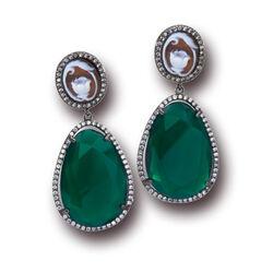 Zilver oorhangers groen agaat camee Diluca Cameo Italiano