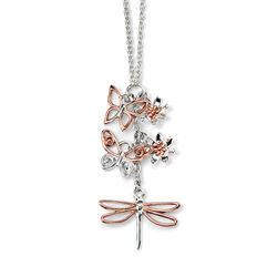 Zilver kettinkje met hanger vlinder bloem en libelle