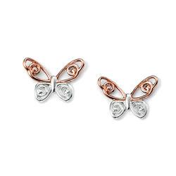 Elements oorbellen vlinder deels roséverguld