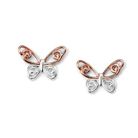 Elements Zilveren Oorstekers Vlinder Rose Verguld