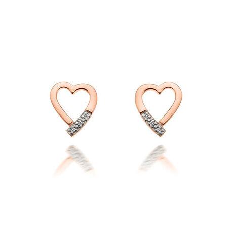 Roséverguld zilver oorstekers hart met diamantje Hot Diamonds