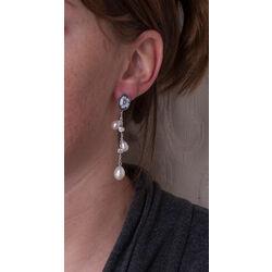 lange zilveren oorhangers camee zirconia en pareltjes