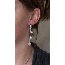 lange zilver oorbellen camee saffier pareltjes Diluca Cameo Italiano