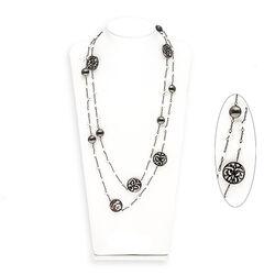 Diluca gezwart zilveren collier camee zirkonia 112 cm