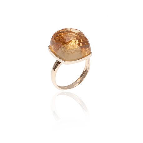 gouden ring met een hoge bolle citrien van Superoro