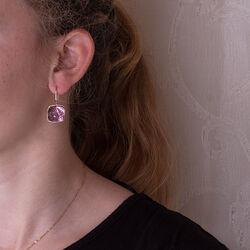Roségouden oorbellen met amethist Superoro