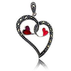 Zilveren Harthanger Twee Rode Harten