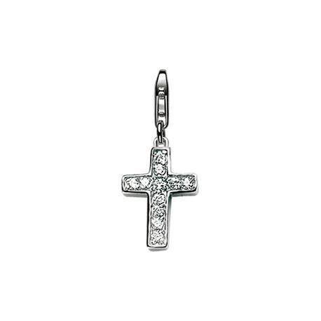 Zilveren bedel kruis met zirconia charms78