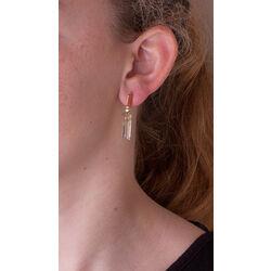 Gouden oorbellen citrien en quartz Superoro