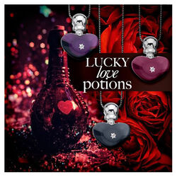 Zilver collier met hanger Love Potion heart Bottle onyx Hot Diamonds