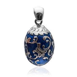 Faberge Ei Zilver Blauw Emaille Zirkonia