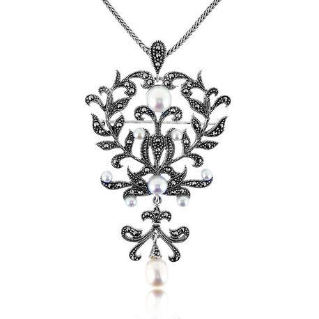 Zilveren hanger broche markasiet parels