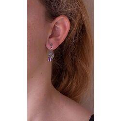 Zilveren marksiet oorbellen met amethist
