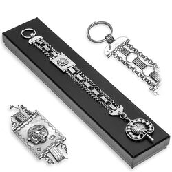 zilver chatelaine met horlogesleutel