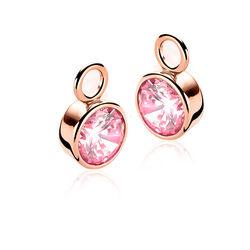 Zinzi Creoolhangers Roze Rose Verguld Zich186rr