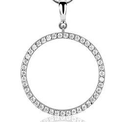 Grote ronde zilveren hanger met zirkonia ZIH1071 Zinzi