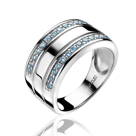 Zinzi Ring Breed Blauw Zirkonia Zir1078b