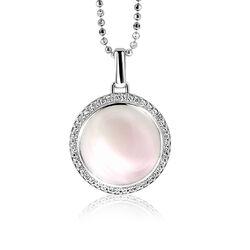 Zilver hanger roze parelmoer en zirkonia Zinzi ZIH1086