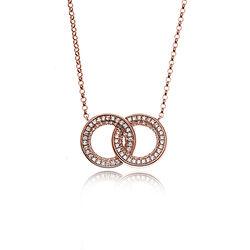 Silver Rose Verguld Collier Twee Ringen Zirkonia Ch6939r