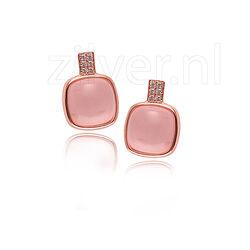 Silver Rose Oorbellen Roze Wit Zirkonia Ea6248p