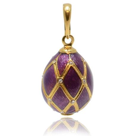 Faberge ei hanger paars emaille met zirkoon in ruitmotief