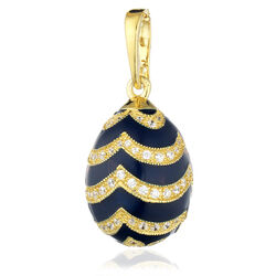 Faberge ei hanger blauw emaille zirkoon verguld