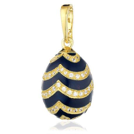 Verguld ei blauw met zirkoon F029db Faberge