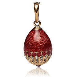 Faberge Hanger Ei Rood Emaille Goud Verguld 01482