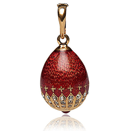 Fabergé ei hanger rood emaille met zirkonia P01482r