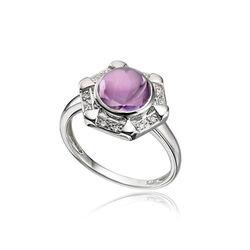Ring amethist en diamant Elements Gold