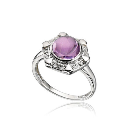 Witgouden ring amethist en diamant Elements Gold