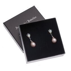 lange zilver oorbellen saffier parels markasiet opaal