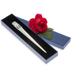 Briefopener verzilverd opgewerkt bloem motief Greggio