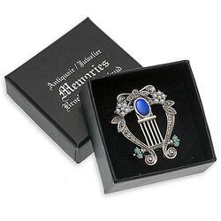 Zilveren lier hanger of broche met opaal parel markasiet