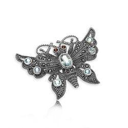 Zilveren Broche Vlinder Topaas Markasiet Granaatjes