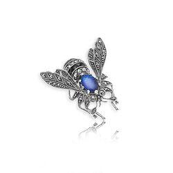 Zilveren Broche Vlieg Opaal Markasiet