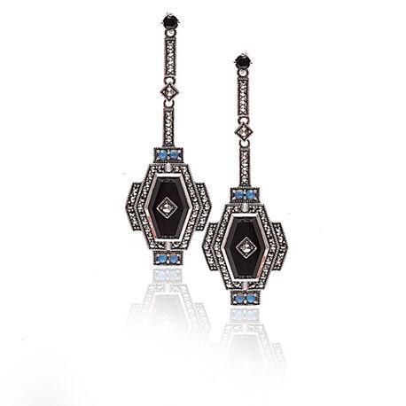 Zilveren oorbellen opaal onyx markasiet