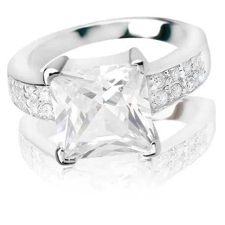 Zilveren ring met vierkante zircona zinzi zir265