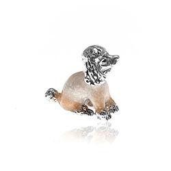 Saturno Zilveren Miniatuur Hondje Emaille